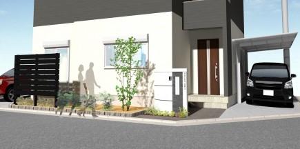 建物と調和した白と黒のモダンエクステリア 加古川市N様邸イメージパース