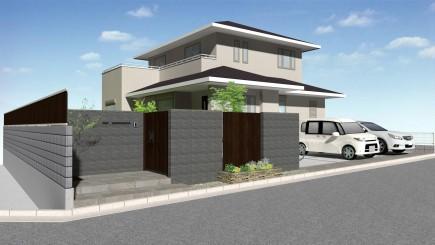 建物との対比が美しい上品な門回り 加古川市S様邸イメージパース