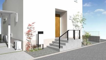 雑木の陰影が美しい玄関周り 太子町K様邸イメージパース2