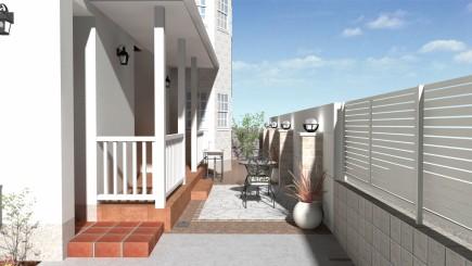 白で統一された洋風住宅に合ったお庭 姫路市N様邸イメージパース
