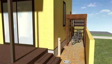 温かみのある木製自転車置き場 加古川市T様邸イメージパース