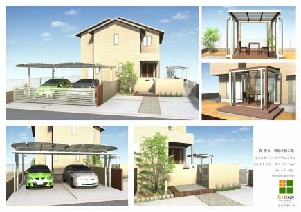 アオダモが映えるシンプルエクステリア 加古川市M様邸計画図2