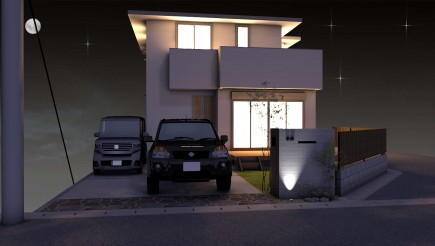 RC杉板風タイル張り門柱とモミジ 姫路市N様邸イメージパース夜