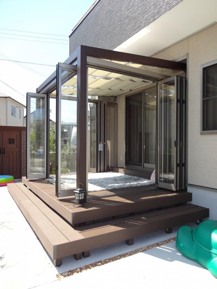 ジーマガーデンルームとウッドデッキ施工例 加古川市M様邸