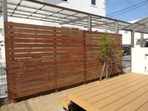 加古川市Y様邸ウリン材フェンスで目隠し1