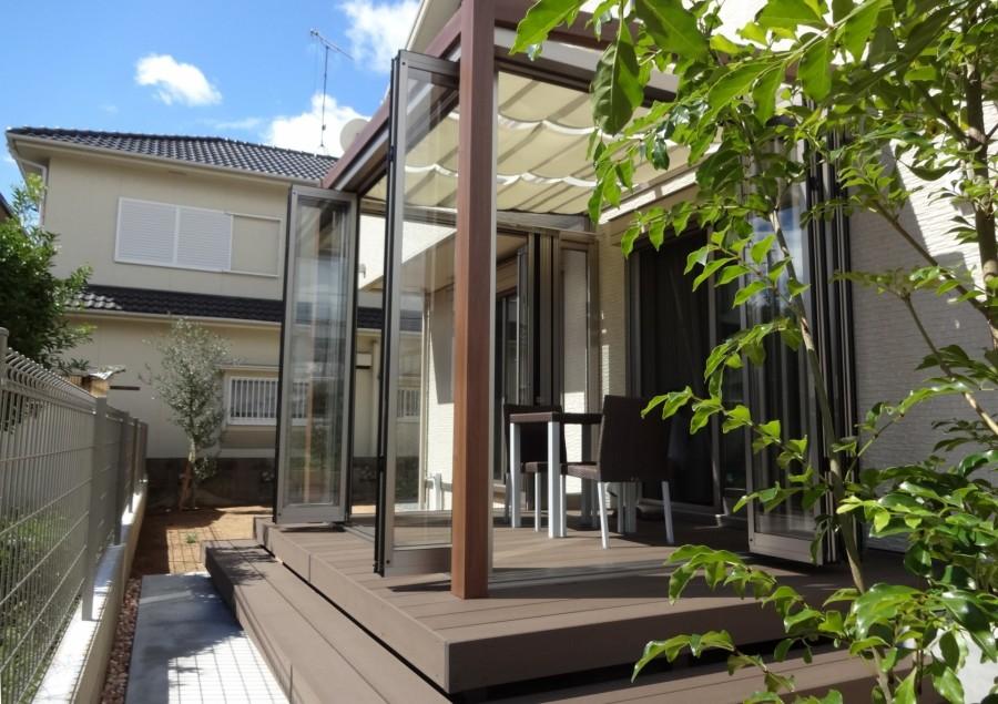 シンボルツリーのアオダモが映えるシンプルな門回り 加古川市M様邸5