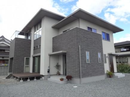 石積み門柱と株立ちのアオダモ 姫路市E様邸施工前状況1
