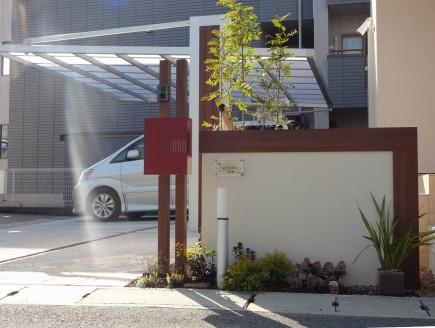 姫路市F様邸デザイナーズパーツを取り入れた門周り1