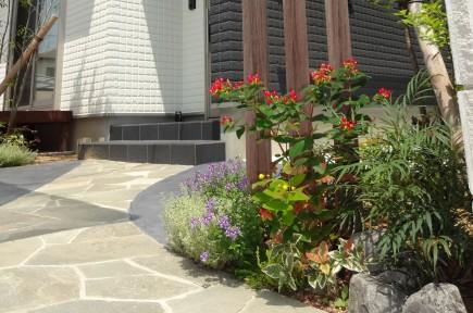 緑に囲まれた自然石曲線アプローチ 姫路市O様邸6