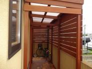 温かみのある木製自転車置き場 加古川市T様邸1