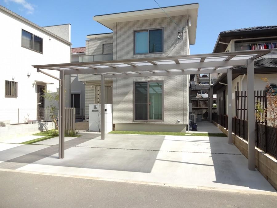 シンプルモダン|セミクローズの門回り 姫路市K様邸車庫カーポート