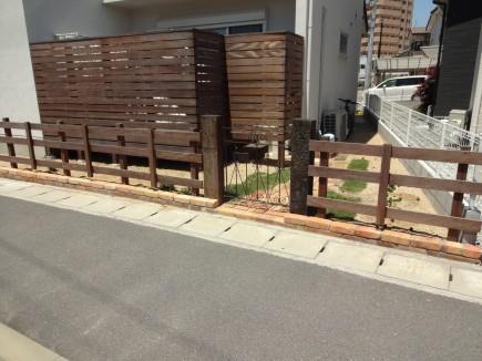 枕木とアンティークレンガのナチュラルなお庭 姫路市O様邸3