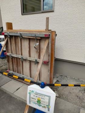 杉板風 コンクリート門柱 型枠