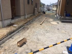 高砂市Y様邸外構工事 境界ブロックベース配筋