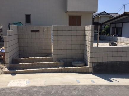 姫路市M様邸新築外構工事門回り化粧ブロック積み