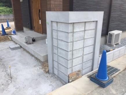 たつの市N様邸エクステリア工事門柱/境界ブロック工事