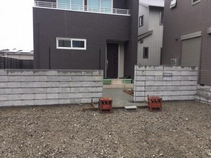姫路市N様邸新築外構工事 門回り下地ブロック積み1