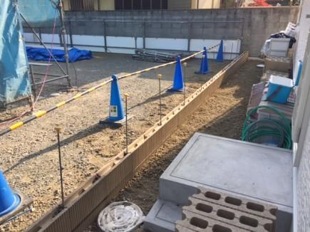 加古川市F様邸外構工事 境界ブロック積み工事