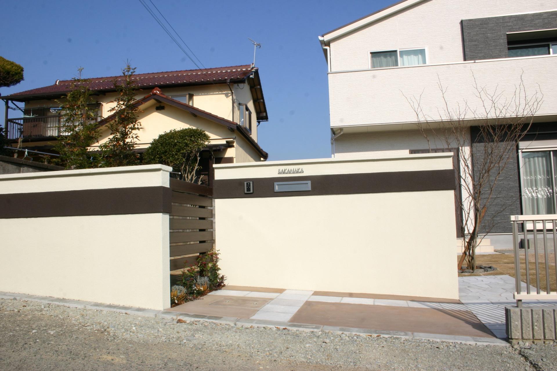 相生市S様邸外構工事 水平ラインを強調した門周りデザイン