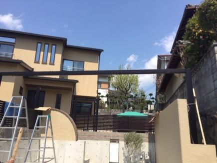 姫路市T様邸新築外構工事スカイリード組立て施工1