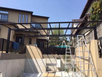 姫路市T様邸新築外構工事スカイリード組立て施工2