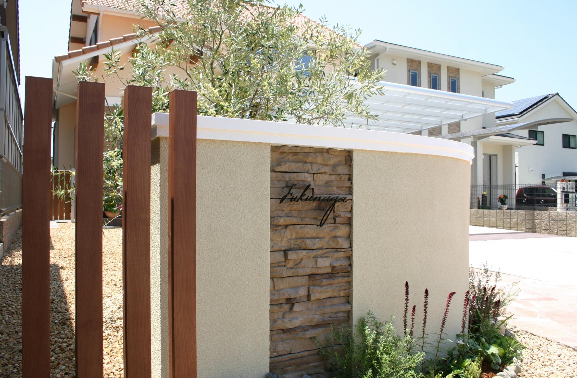 エレガントな中に可愛さを取り入れたお庭 たつの市F様邸表札デザイン