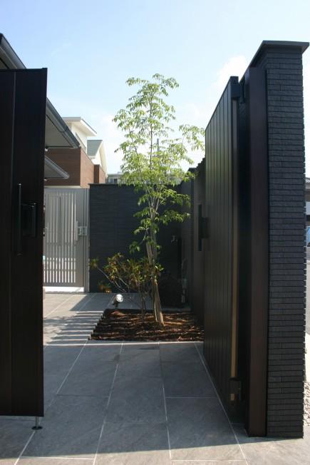 建物との対比が美しい上品な門回り 加古川市S様邸アオダモ