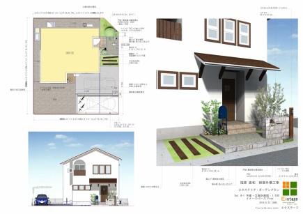 白を基調としたおしゃれな門周り 姫路市F様邸計画図面