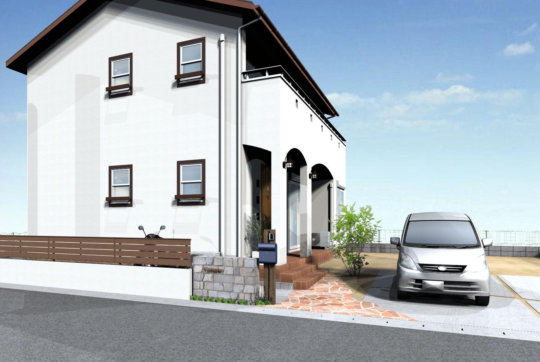 フェンス(ライトブラウン)+柱(ブラウンエボニー)イメージパース たつの市Y様邸