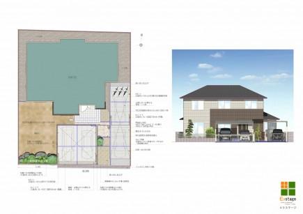 木目でアクセントのある門回り 姫路市F様邸計画図