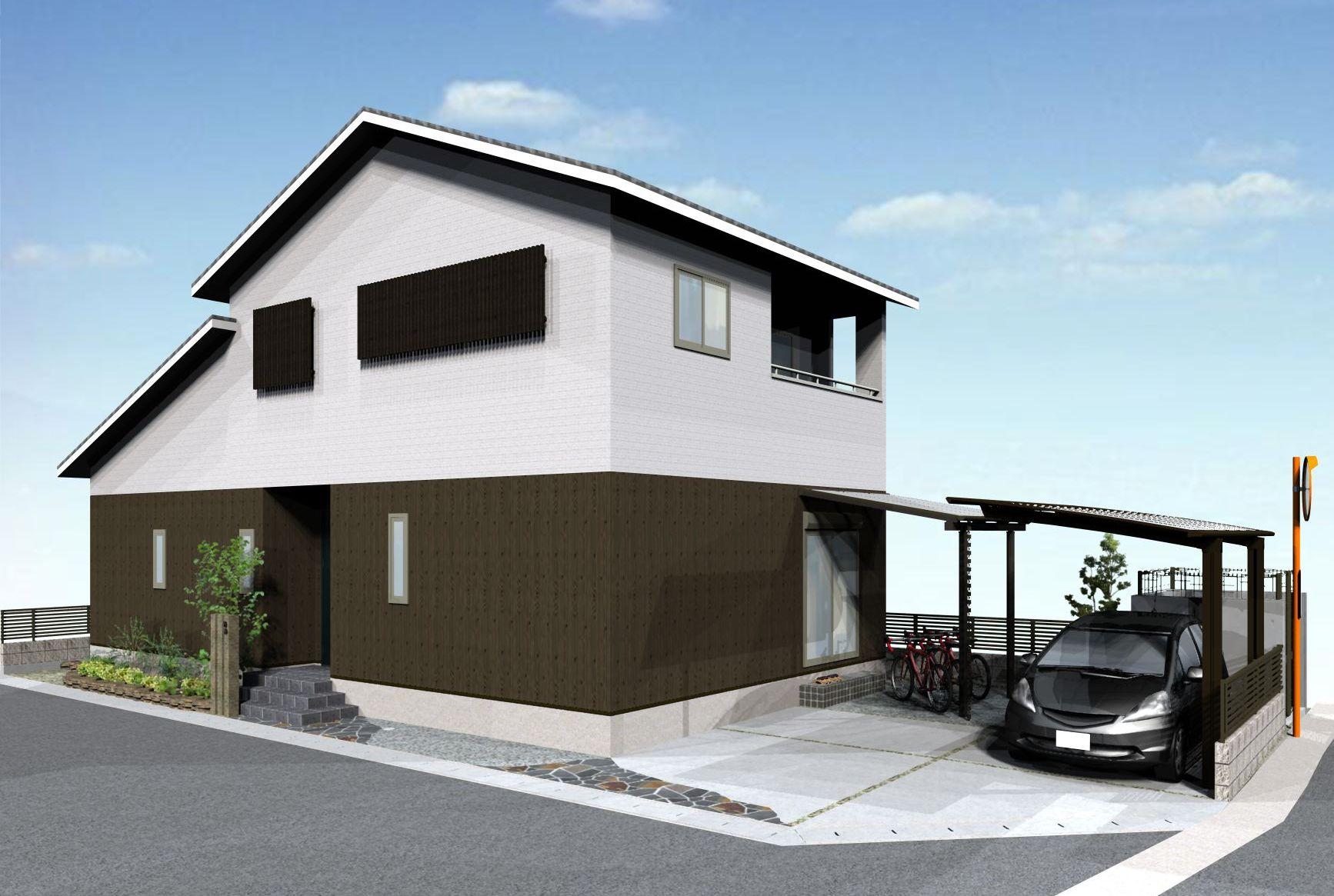 古民家風建物に和モダンな外構デザイン 姫路市I様邸イメージパース